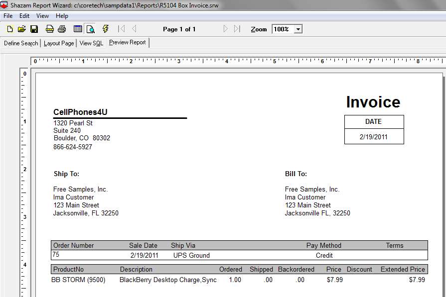 R5104 Box Invoice Report