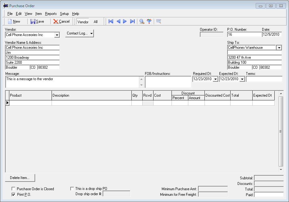 Purchase Order Screen