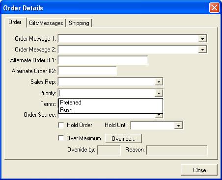Order Details Dialog