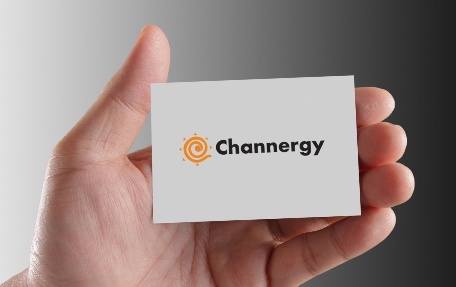 hand holding business card – Channergy